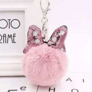 Minnie Mouse Dusty Pink Pom Pom Keychain